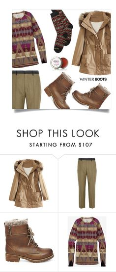 """""""solid footing"""" by collagette ❤ liked on Polyvore featuring WithChic, Maison Margiela, Steve Madden, Pendleton, winterboots, withchic and lor"""