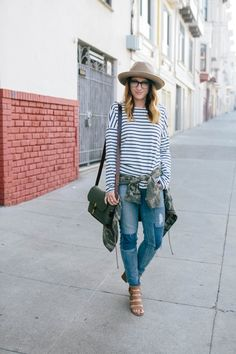 Striped shirt and jean combination