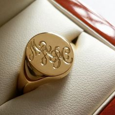 Mens/Ladies Gold Signet Ring Hand Engraved With Your Monogram