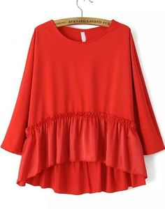 Red Round Neck Batwing Ruffle Loose Blouse