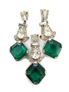 1930s Rhodium Finished Pot Metal Emerald Cut Prong by BajanLizard,