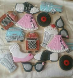 1950s cookie set: '57 Chevy, juke box, saddle shoes, poodle skirt, sundae, cat's eye glasses, vinyl record, anklets by Maria Ines Buckovecz