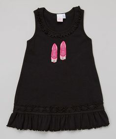 Black & Pink Shoe Ruffle Dress - Toddler & Girls by Twinkle by Anita G. #zulily #zulilyfinds $14.99