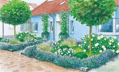 Ein neues Doppelhaus braucht zwei einheitlich gestaltete Vorgärten – eine kreative Herausforderung. Wir präsentieren Ihnen zwei Gestaltungsideen. (Pflanzplan als PDF zum Herunterladen und Ausdrucken)