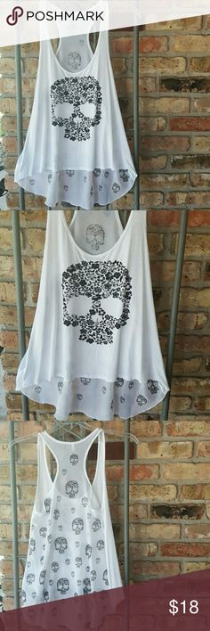 Aran's Den tank Floral skull tank. High/low hemline. Sheer back with scooped hemline and big and little floral skulls throughout.  Excellent condition Aran's Den  Tops Tank Tops