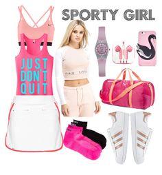 """sporty girl"" by yrrehc-che on Polyvore featuring adidas Originals, NIKE, L'Etoile Sport, Pink Soda, Kari Traa, Kate Spade, Puma, PhunkeeTree and Armitron"