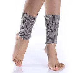 Women Leg Warmers Twist Knitted Knee Short Boot Socks