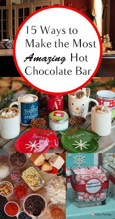 15 clever ways to have the most incredible hot chocolate bar! Such a great party idea! 15 clever ways to have the most incredible hot chocolate bar! Such a great party idea! Hot Chocolate Party, Christmas Hot Chocolate, Hot Chocolate Recipes, Chocolate Bars, Christmas Treats, Christmas Fun, Holiday Fun, Christmas Decorations, Christmas Lights