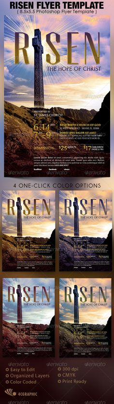 The Risen Church Flyer Template is great for any christian event. Use it for Easter sermons, pageants or concerts. $6.00