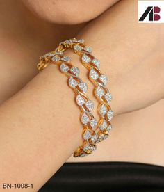 Bangles and Bracelets Upto OFF: Buy Fashion Bangles and Bracelets Online for Women - Snapdeal Gold Diamond Earrings, Diamond Bracelets, Silver Bracelets, Sterling Silver Necklaces, Bangle Bracelets, Emerald Earrings, Gold Necklaces, Gold Bangles Design, Jewelry Design