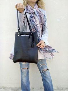 FREE SHIPPING/ Black leather bag .Tote leather bag от LaraKlass
