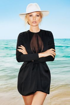 Kate Moss heads to Jamaica. Little black dress, Dior. Hat, Yestadt Millinery, yestadtmillinery.com.   US Harper's Bazaar June/July 2012 by Terry Richardson.