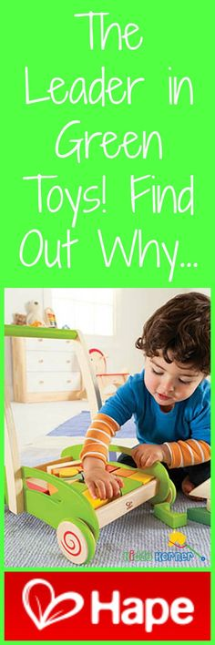 Click here to learn why Hape is the leader in green toy manufacturing: http://kiddokorner.com/blog/what-makes-hape-a-green-manufacturer.html