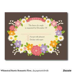 Whimsical Rustic Romantic Flowers Wedding RSVP Postcard