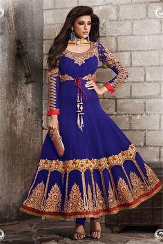 Georgette Blue Floor Touch Anarkali wear  Suit