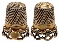 Silver Gilt Thimble with Filigree and Heart, 'Mary Gallatin Hoppins'