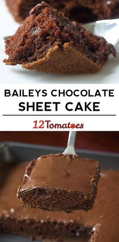Baileys Chocolate Sheet Cake - for adults only Irish Recipes, Sweet Recipes, Cake Recipes, Dessert Recipes, Frosting Recipes, Top Recipes, Asian Recipes, Brownie Cake, Puddings