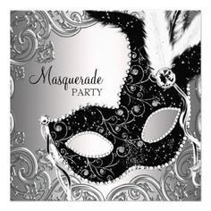 Black and White Party Ideas | beautiful silver black feather mask black and white masquerade party ...