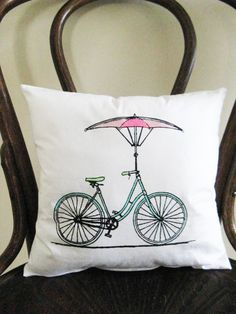Bicycle Bicycle 12x12 Pillow by badbatdesigns on Etsy, $14.00