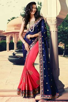 #AndaazFashion presents Blue and pink Georgette Saree With Art silk Blouse   http://www.andaazfashion.fr/womens/sarees/blue-and-pink-georgette-saree-with-art-silk-blouse-dmv8422.html