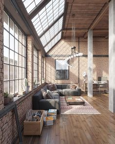 I love loft design and will do a lot in my future as an architect . - Garden decoration - I love loft design and will do a lot in my future as an architect … - Industrial Interior Design, Industrial Living, Industrial Interiors, Home Interior Design, Room Interior, Modern Industrial, Industrial Loft Apartment, Industrial Stairs, Modern Rustic