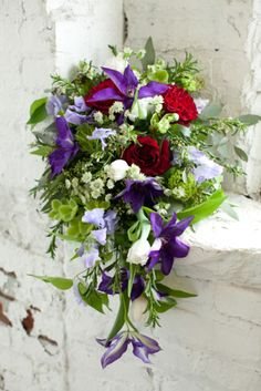 Bridal Bouquets and Wedding Flowers: Purple, red and green bouquet