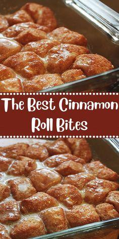 The Best Cinnamon Roll Bites - - Breakfast Recipes Cinnamon Roll Bites Recipe, Cinnamon Recipes, Baking Recipes, Baking Pan, Cinnamon Desserts, Biscuit Cinnamon Rolls, Cinnamon Cookies, Cinnamon Bread, Breakfast Items
