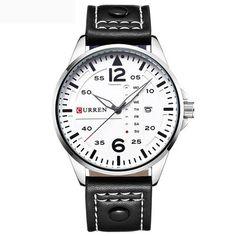 CURREN 8224 man sport watch leather band calendar dual scale leisure watch