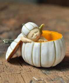 Another great find on #zulily! Sleeping Fairy Baby in White Pumpkin Figurine by Top Collection #zulilyfinds