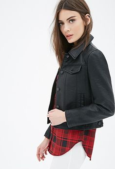 Collared Faux Leather Jacket | Forever 21 - 2000099022