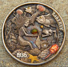 """Hobo nickel """"Dead Sea"""" hand carved w/ gold, copper and gems by J. Custom Coins, Sea Wallpaper, Pirate Art, Hobo Nickel, Coin Art, Art Carved, World Coins, Rare Coins, Coin Collecting"""