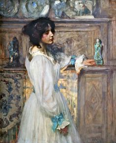 Reverie (1898).Sir James Jebusa Shannon (American, 1862-1923). Oil on canvas.Walker Art Gallery, Liverpool. Shannon was one of the outstanding society portraitists of his day. His success lay in an ability to paint portraits that appealed to the prevalent aesthetic taste and these paintings reveal his artistic sensibility, fine sense of color, and stylistic bravura.