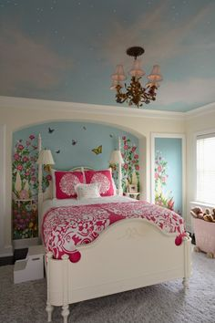 Sweet bedrooms for girls big and small, with a butterfly garden wall mural and painted sky ceiling set with twinkle lights  (via Orono Residence - eclectic - kids - minneapolis - by RLH Studio- Renee LeJeune Hallberg)