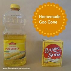 HOMEMADE GOO GONE     1 teaspoon vegetable oil     2 teaspoons baking soda  Homemade Goo GoneCombine the vegetable oil and the baking soda in a small bowl.  It will be a somewhat thin mixture but not as thin as the real Goo Gone.  Dip the edge of a piece of paper toweling in the mixture and then rub over the sticky stuff you are trying to remove.  Keep doing this as needed.