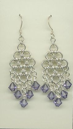 Chainmaille Dangle Earrings with Tanzanite Swarovski Crystal Drops. $28.00, via Etsy.