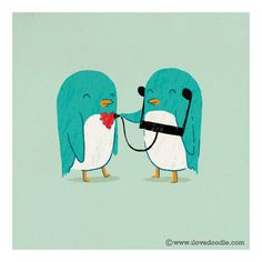 Penguins, love and music illustration by Heng Swee Lim