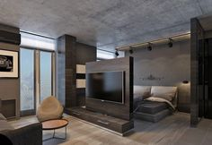 4 Dark Living Rooms With Strong Personality - Ideas Renders Estudio Studio Apartment Layout, Small Apartment Interior, Small Apartment Design, Studio Apartment Decorating, Home Interior Design, Bedroom Furniture Design, Master Bedroom Design, Home Bedroom, Modern Bedroom