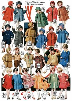 1920s Children's fashions catalog page from Free Vintage Digistamp