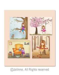 Girls room wall art, set of 4 posters, kids room art prints, nursery art, decor by jolinne on Etsy https://www.etsy.com/listing/175149932/girls-room-wall-art-set-of-4-posters