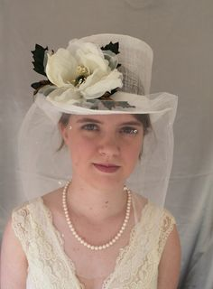 Victorian Riding hat / ladies bridal top hat  $130.00 usd