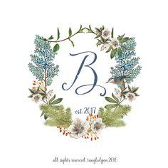 winter wedding botanical wedding crest custom by tangledPen