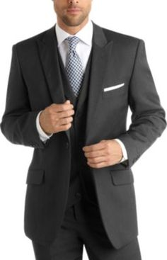 English Laundry Charcoal Stripe Vested Suit | Men's Wearhouse