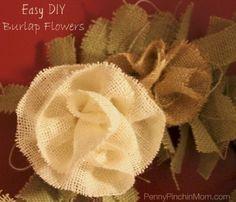 Burlap Flower Tutorial How to make easy DIY Burlap Flowers (in less than 3 minutes) Burlap Projects, Burlap Crafts, Fabric Crafts, Sewing Projects, Craft Projects, Diy Crafts, Burlap Wreaths, Burlap Ribbon, Burlap Flowers