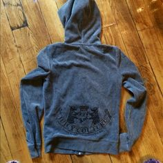 **price negotiable* Juicy couture grey velour Grey velour zip up, flawless Juicy Couture Tops Sweatshirts & Hoodies