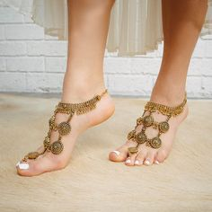 Gold Barefoot Sandals Boho Goddess Tribal Belly by ForeverSoles