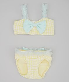 Loving this Yellow Houndstooth Chloe Bikini - Infant, Toddler & Girls on #zulily! #zulilyfinds