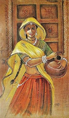 If you are already intrigued by this form of art and wish to dig deeper into it, then there is good news for you- here we have some examples of Brilliant Traditional Indian Art Paintings for you. Indian Women Painting, Indian Art Paintings, Modern Art Paintings, Indian Artwork, Rajasthani Painting, Rajasthani Art, India Painting, Art Village, Indian Folk Art
