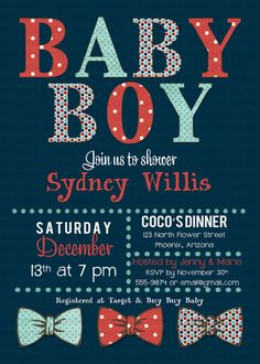 Baby boy shower invitation baby boy with bow by katiedidesigns  love this because i love the bow ties for the baby boys