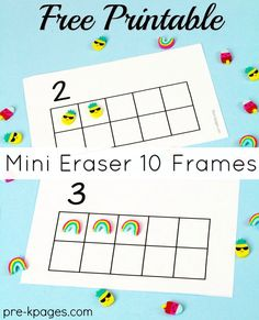 Free printables to use with mini erasers from Target, Party City, Dollar Tree and other sources. Kindergarten Math Activities, Montessori Math, Fun Math Games, Preschool Activities, Montessori Elementary, Ten Frame Activities, Number Activities, Kindergarten Centers, Counting Activities