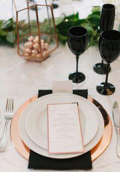 Rose gold wedding ideas menu card charger terrarium decor